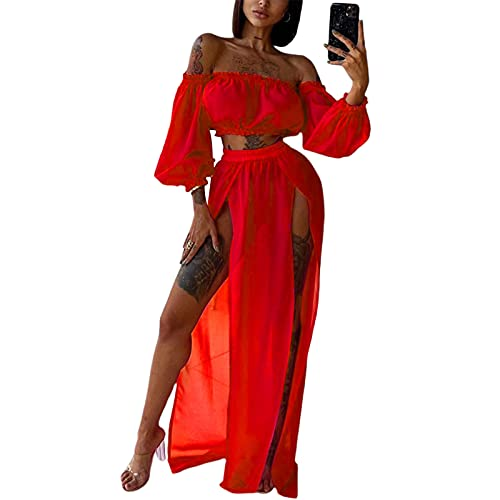 L&ieserram Strandkleid Damen Lang Strand Maxi Rock + Off Shoulder Oberteil Crop Top Sommerkleid Chiffon High Waist Bikini Cover Up Transparent Sommer Strand Bademode Outfit (Rot, Einheitsgröße)
