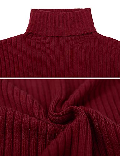 Irevial Vestido Punto Mujer Invierno, Vestido Suéter Mujer Manga Larga de Cuello Alto, Vestido Fiesta Mujer Elegante Casual Vino Rojo-XXL