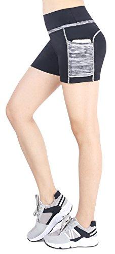 Sugar Pocket Women's Workout Shorts Running Tights Yoga Short Pants S(Black/Grey)