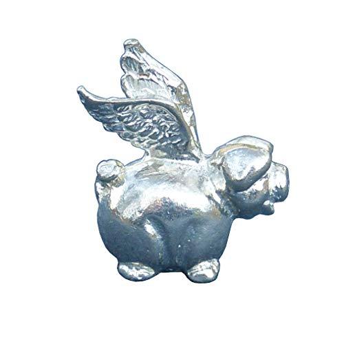 Fliegende Schwein, Schwein-Figur, Schwein-Skulptur, Glücksschwein, Tierfigur Geschenk, Handgegossen von William Sturt, aus Deutsche Zinn (Pewter)