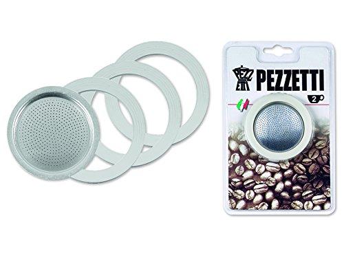 Pezzetti 1351 3Guarnizione in Gomma/Anelli + Filtro–Replacement-Misure 1,2,3,6,9,14Tazze da caffè Espresso Moka Pot, 2 Cup, Metallo