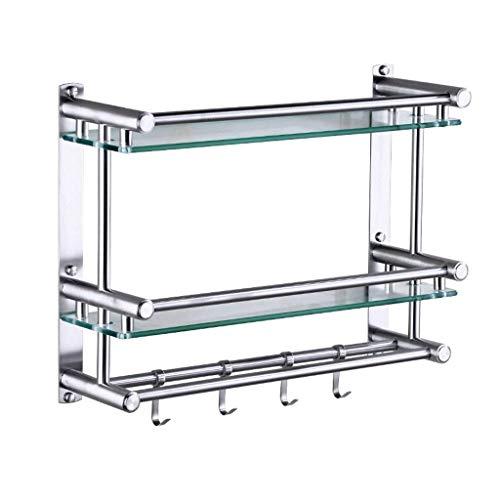 Halterks dubbele lijst voor de badkamer van roestvrij staal scheidingswand van gehard glas handdoekhouder voor badkamer in hotel met haak 40 50 cm - 725 (kleur: 2tiers maat: 40 cm) 40cm-2tiers
