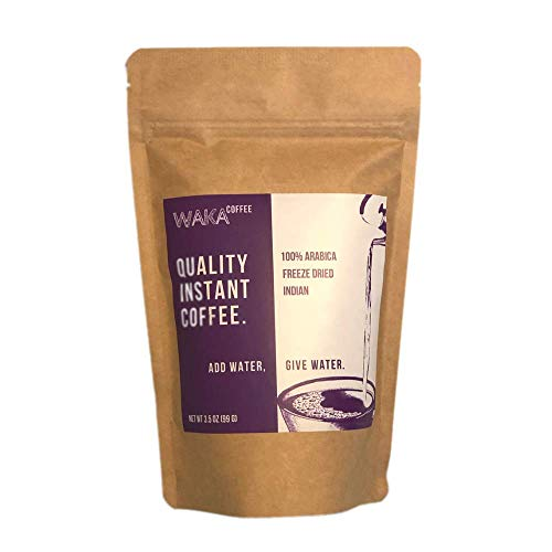 Waka Coffee Quality Instant Coffee, Indian, Light Roast | 100% Arabica, Freeze Dried, 35 Servings in a 3.5 oz Resealable Bag