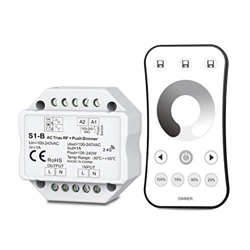 Fafalloagrron Wireless AC RF Triac Dimmer mit 2,4 G Fernbedienung Kit dimmbar Druckknopf für LED-Lampe