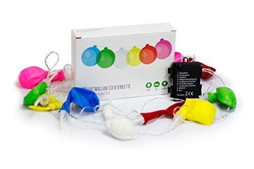 Trendario LED Luftballon Lichterkette, 12 LED Ballon Girlande, Partydeko, batteriebetrieben für innen und außen, bunt