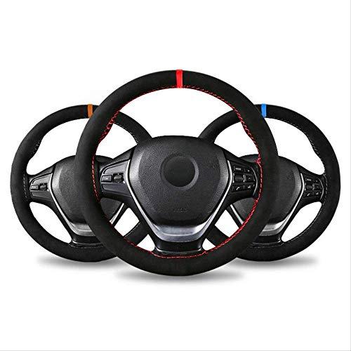 GGOII Lenkradabdeckung Mikrofaser Leder Universal DIY Auto Lenkradbezug Anti-Rutsch-Sport Style 38cm Anti-Catch-Halter Passend für die meisten AutosBraun