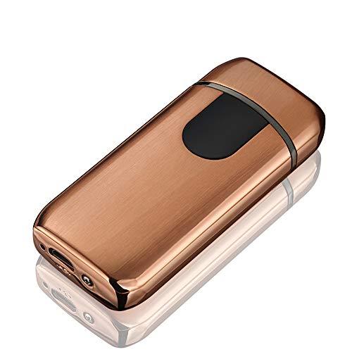 STKJ Oplaadbare aansteker Touch Ontsteking USB Opladen Windproof Plasma Aansteker voor Kaars, Sigaret Power Indicator Vlamloos, Goud, 1 stks