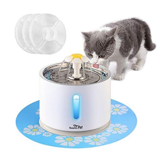 BEACON PET Cat Water Fountain Stainless Steel, LED 81oz/2.4L Automatic Pet Fountain Dog