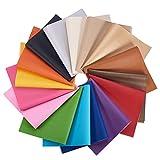 BENECREAT 16 PCS Hojas de Cuero de Imitación 16 Colores Cuero Sintético con Parte Posterior de Lienzo para Manualidad de Artesanía