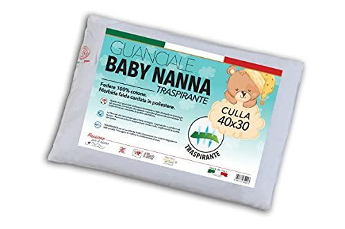 V.I.P. VERY IMPORTANT PILLOW Cuscino Lettino Baby Nanna, Guanciale in Morbida, Fibra Traspirante, 40 x 30 cm