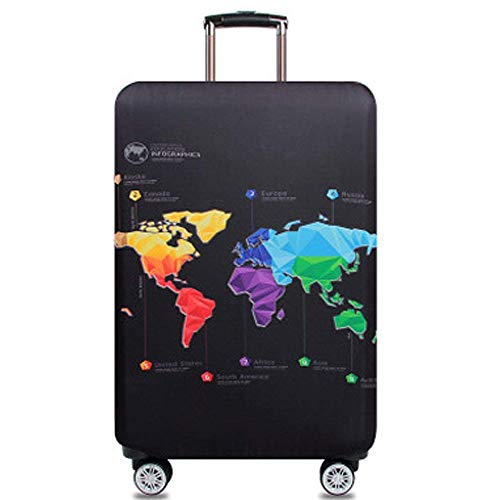 Travel Suitcase Protector Zipper Suitcase Cover Washable Print Luggage Cover 18-32 Inch (XL, World map)