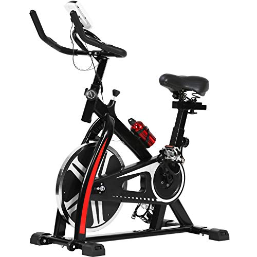 Exercise Bike Indoor Cycling Stationary Bike LCD Monitor Adjustable Resistance Fitness Equipment for Home Cardio Workout