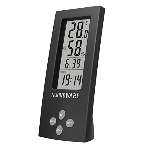 Nuovoware Thermometer Hygrometer Clock, Desktop All-in-one High Precision Digital Instant Read Hygro-Thermometer Timer, Temperature and Humidity Meter with Transparent LCD Display, Black