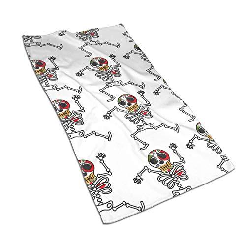 Tyueu Toallas faciales de esqueleto mexicano Dia De Los Muerto Símbolo Calavera Towel,Towels-Dish 3D Diseño Pattern Towels for The Kitchen,Cleaning,Cooking,Baking,D