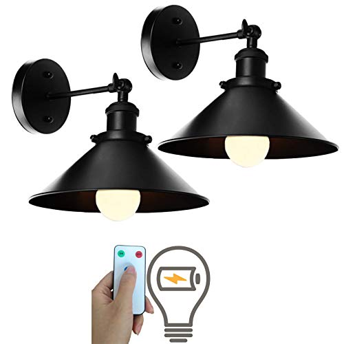 civaza 2 Light Black Wall Sconces Adjustable Swing Arm Wall Lamp, Led Remote Control Battery Operated Indoor Wireless Dimmable Wall Mount Light Fixture for Loft Bedroom, Battery Light Bulb Included