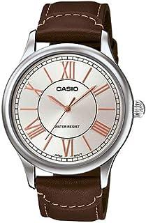 ساعة كاسيو بسوار جلدي ومينا بلون رمادي وعرض انالوج للرجال، MTP-E113L-5ADF