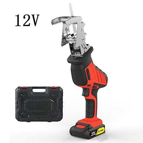 Steekzaag, reciprozaag elektrische decoupeerzaag voor hout metaal kunststof buis 250W snijden motorzaag zaag gereedschap met 2000 mAh lithium batterij 12 V / 16,8 V / 21 V met 9 snijbladen 12V Package1