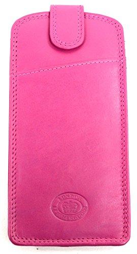 London Leather Brillenetui Dame/Herren aus weichem Leder, schmale Silouette - Pink