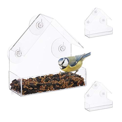 Relaxdays 3er Set Fenster-Vogelfutterhaus, für Wildvögel, 3 Saugnäpfe, Futterstation mit Dach, HBT: 15 x 15 x 7 cm, transparent