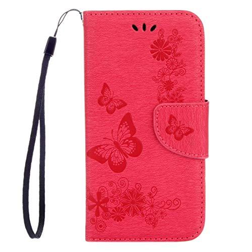 Accesorio telefónico Huawei P8 Lite (2017) Mariposas en relieve Horizontal Flip Funda de cuero con soporte y ranuras for tarjetas y billetera y cordón Cajas de cuero para teléfono. ( Color : Red )