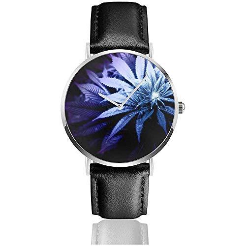 Pflanzen Marihuana Weed Ganja Black Quz Uhrwerk Edelstahl Leder Armbanduhren Casual Fashion Armbanduhren