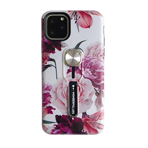 Hosgor Flowers iPhone 11 Pro Case with Finger Grip, 3D Print Design Rugged Shockproof Slim Soft TPU + Matte PC Dual Layer Finger Ring Strap Cover for Apple iPhone 11 Pro - 5.8' 2019 (Peony)