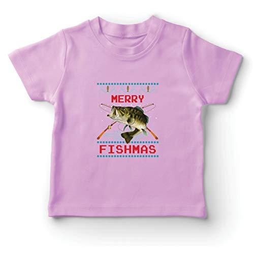 lepni.me Camiseta para Niño/Niña Feliz Navidad Peces Gracioso Regalo para el Amante de la Pesca (1-2 Years Rosado Multicolor)
