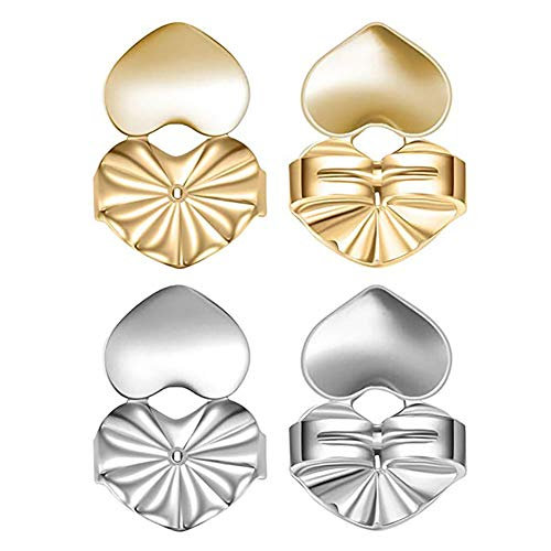 Earring Lifters Backing for Women, 2 Pairs of Adjustable Hypoallergenic Heart Earring Post Lifts Back Supports
