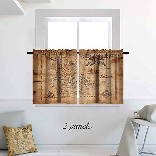 Island Map Decor Half Window Curtain Super Detailed Treasure Map Grungy Rustic Pirates Gold Secret Sea History Theme Blackout Small Thermal Insulated Window Tier 30 x 54 inch