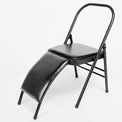 Pilates Yoga Stuhl, PU Gesicht, Yoga-Stuhl, Hilfsstuhl, Klappstuhl, Wirbelsäulenrücken-Biegung, Wirbelsäulenrücken-Übung bevorzugt, professioneller Yoga-Stuhl - Lendenwir Schwarz , 47*45*83cm