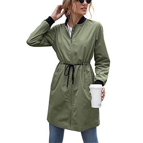 ZFQQ Damen wasserdichte Outdoor-Kleidung Mittellange Kapuze Taille Windjacke...