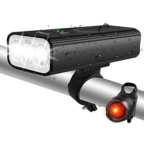 EBUYFIRE Luci Bicicletta LED Ricaricabili USB, Super Luminoso 3000 Lumens 3 modalità,5200mAh IPX5 Impermeabile Luci Bici Anteriori e Posteriori (con fanale Posteriore Non Ricaricabile)