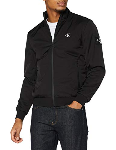Calvin Klein Padded Zip Up Harrington Chaqueta, CK Black, S para Hombre