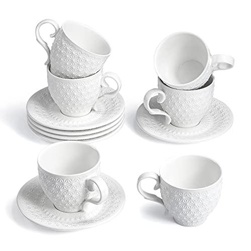 Sunting Kaffeetassen Set Porzellan Weiß Espressotassen Set. Hochwertige Neue Bone China Kaffeeservice 6 Personen in Schönem Schneeflocken Relief Design mit 6 Cappuccino Tassen 195ml und 6 Untertassen