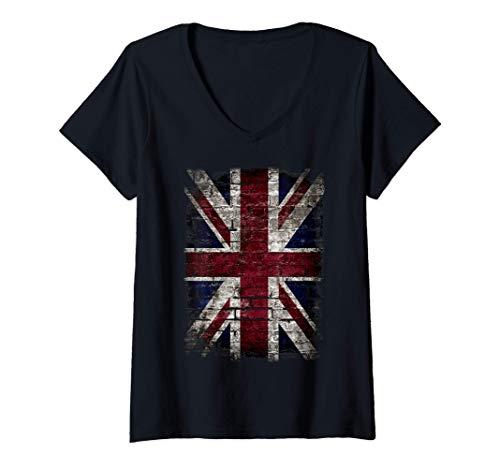 Femme Grunge Union Jack Graffiti Punk Style Drapeau britannique T-Shirt avec Col en V
