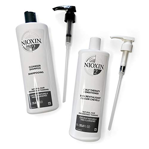 Nioxin System 2 for Natural Hair with Progressed Thinning Cleanser Shampoo (33.8 Ounce) and Scalp Therapy Conditioner (33.8 Ounce) Prepack,Pumps Included