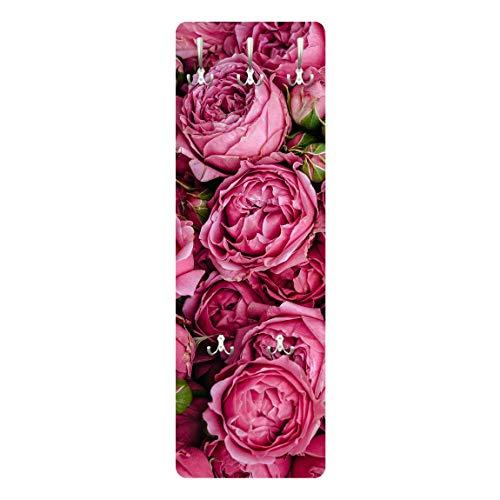 Bilderwelten Perchero Panel Mural Juego De Ganchos Armario De Pared - Pink Peonies 139 x 46cm