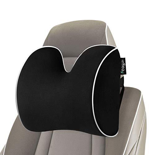Feagar Almohada Reposacabezas Coche - Cojín Cervical Coche Ortopedicos | Almohadillas del Cuello del Coche para la Conducción | Cojines Reposacabezas Coche Negro
