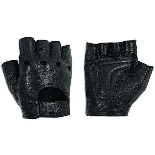 Fingerlose Handschuhe aus weichem Leder Motorrad Rindsleder Goth Punk Schwarz S