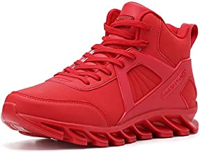 BRONAX High Top Sneakers for Men Classic Leather Waterproof Lace Up Slip Resistant Hightop Motorcycle Workout Walking Wrestling Training Shoes for Youth Boys Basketball Sneakers All Red Size 11