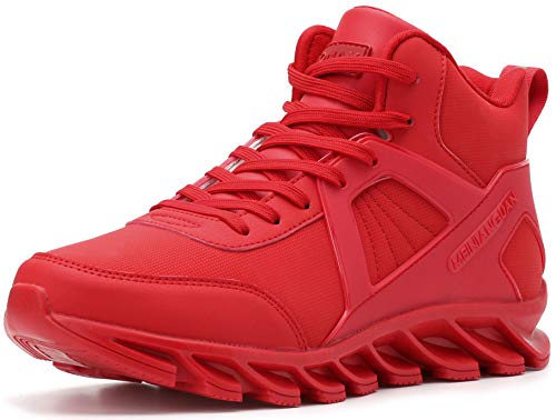 BRONAX Tennis Shoes for Men Casual High Hi Top Lace Up Leather Basketball Walking Sports Athletic Training Jogging Fitness Travel Workout Hip Hop Gym Sneakers All Red Size 13