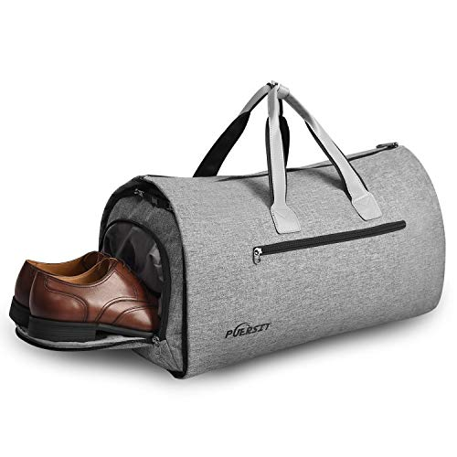 Puersit Suit Garment Bag Carry on Travel Bag for Men Women Travel & Sports Large Duffel Bag, 2 in 1 Hanging Suit Suitcase Business Travel Bag with Shoe Bag(Grey)