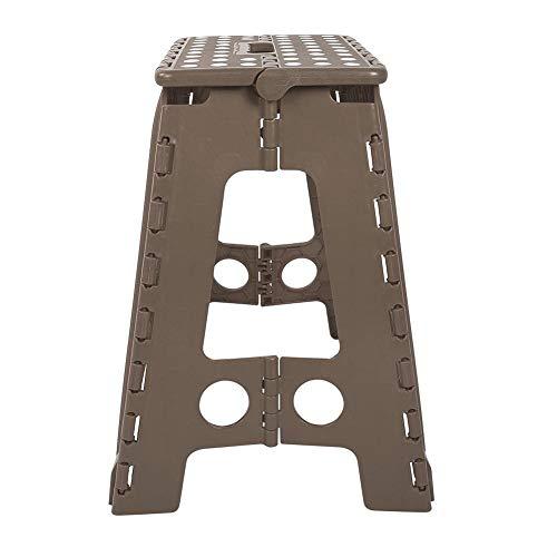 MAGT Klappbarer Hocker, Robuster Hochleistungs-Klapp-Tritthocker Tragbarer lebender Kunststoff-Punkt-Hocker Mehrfarbiger Stuhl Anti-Rutsch-Hocker mit Tragegriff für Erwachsene zu Hause(Dunkelbraun)