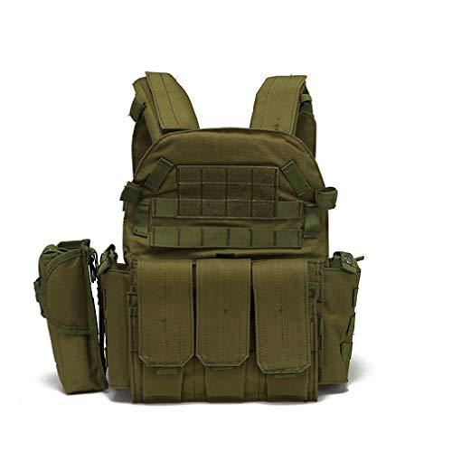 Hanyaqi Veste de combat tactique multifonctionnelle pour extérieur Molle Extension et la commodité de l'entraînement militaire CS réel pour exercices de combat Vert militaire