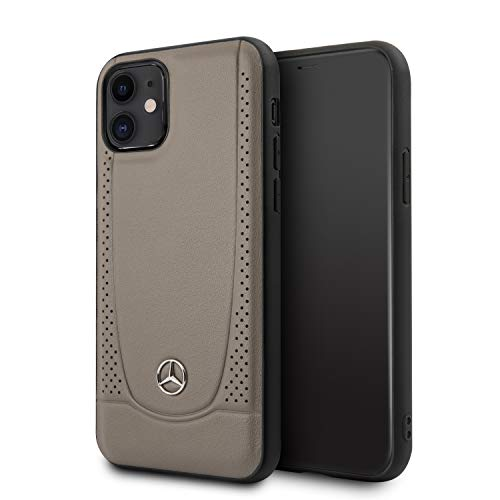Mercedes-Benz Phone Case for iPhone 11 Genuine Leather Hard Case with Urban Perforating Design Walnut Brown | Easily Accessible Ports | Drop Protection Case | Officially Licensed.
