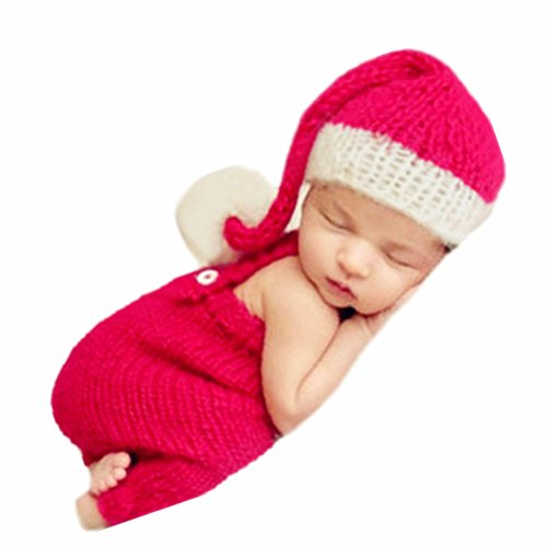 Newborn Baby Christmas Santa Photo Props Boy Girl Photo Shoot Outfits Crochet Knit Hat Shorts Photography Props Red and White