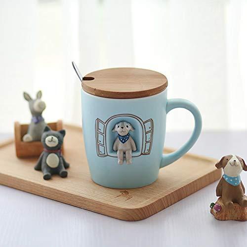 geen logo Eenvoudige schattige keramische beker 3D cartoon keramische mark beker met deksel en lepel creatieve stereo schattig paar drinkbeker melk koffiebeker