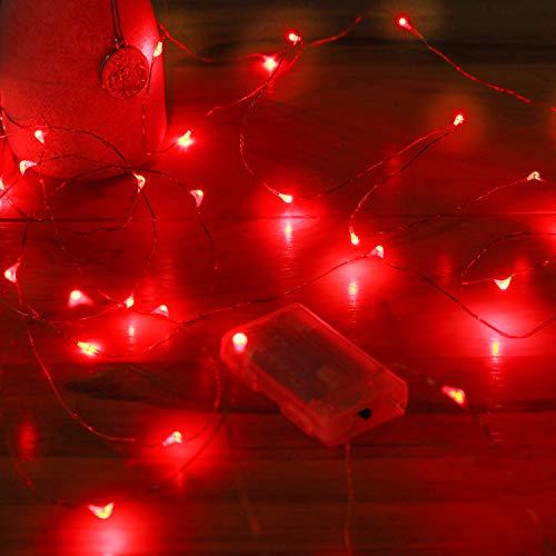 Batterie Lichterketten für Zimmer, 1 Packung 5 Meter 50 Led Kupferdraht 3*AAA Mini Batteriebetriebene Lichterkette für Weihnachten Schlafzimmer Halloween Hochzeit Party Deko Innen(Rot)