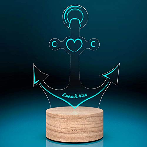 Personalisierte LED-Leuchte Anker mit Namen | Deko-Licht personalisiert LED-Anker mit 7 Farben - 19 cm | Geschenk-Idee Partner Paar Pärchen | Wohnzimmer Dekoration