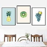 Fruta tropical Piña Kiwi Uvas Hoja Pared Lienzo Pintura Carteles nórdicos e impresiones Cuadros de pared para la decoración de la sala de estar-30x40cmx3 Sin marco